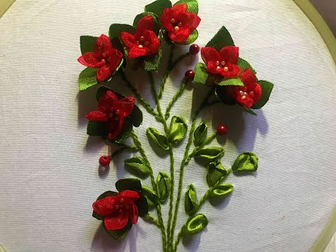 #Ribbon work embroidery #How to make easy ribbon flowers #Ribbon flowers bouquet #Hand embroidery.