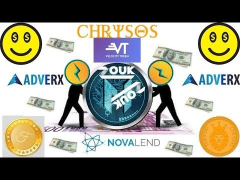 QUICK UPDATE MONETIZE COIN   CHRYSOS   VELOCITY TOKEN   ADVERX   ZOUK COIN   NOVALEND   FINECOIN
