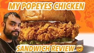 My Popeyes Chicken Sandwich Review #hellachluy