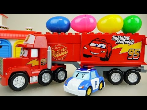 Cars truck surprise eggs and Robocar Poli car toys