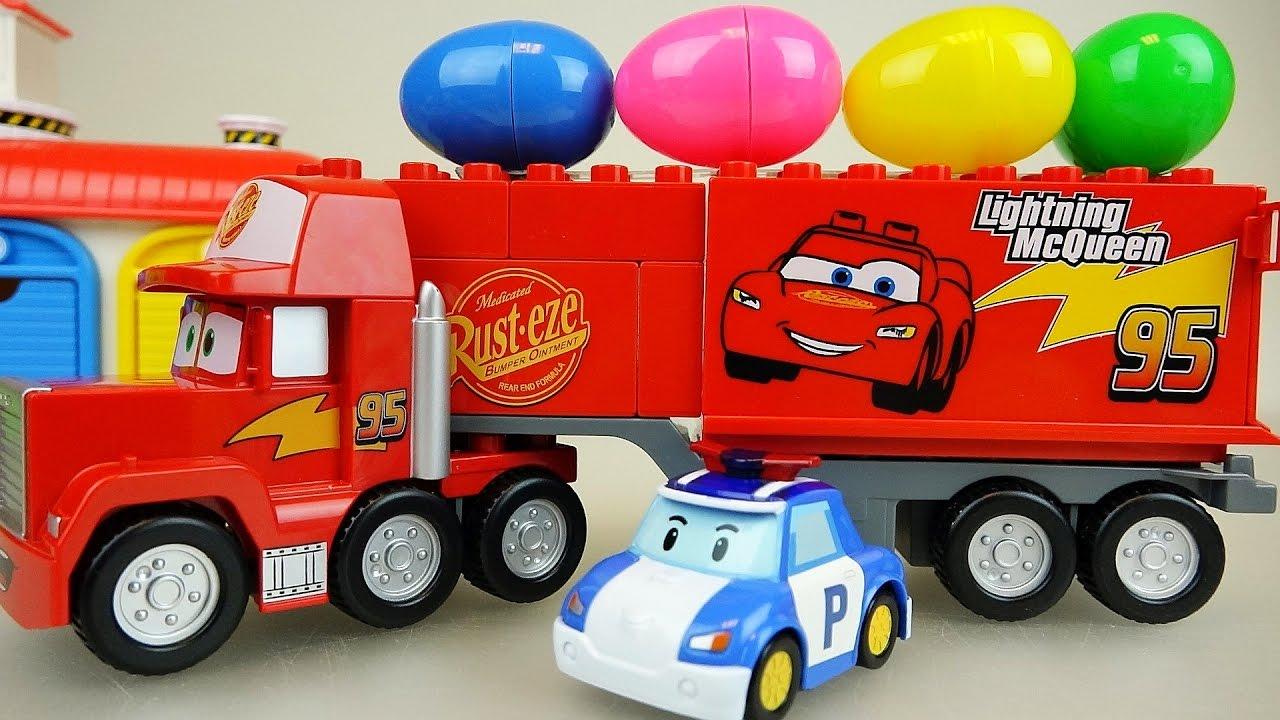 Cars truck surprise eggs and robocar poli car toys youtube for Bureau cars toys r us