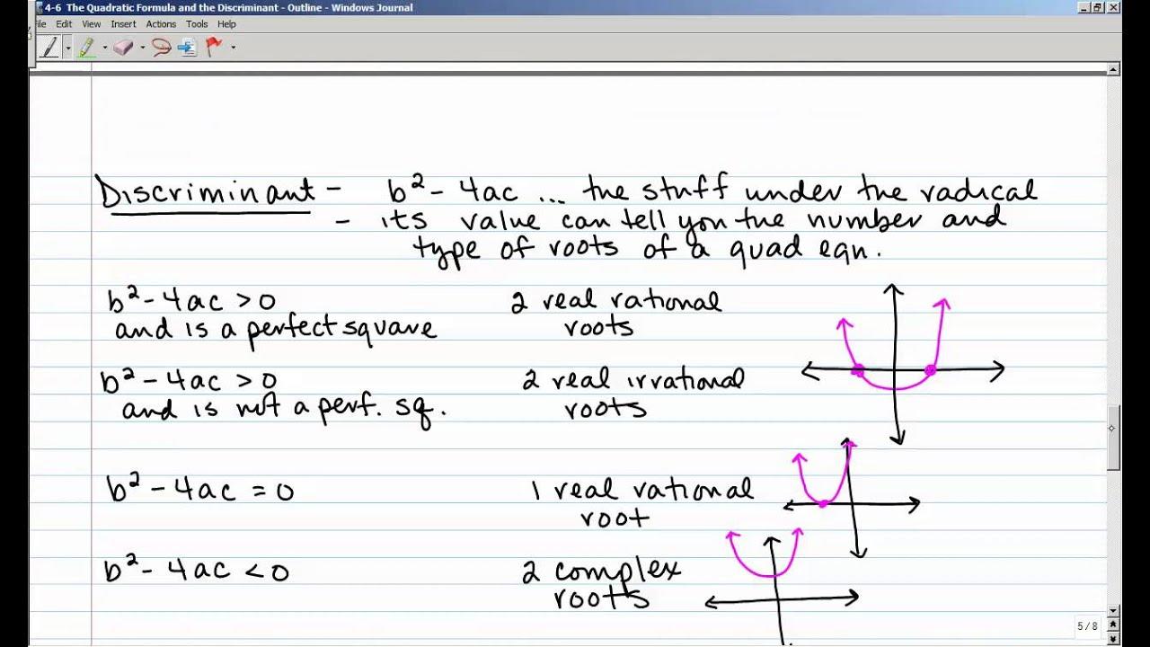 4-6 homework the quadratic formula and the discriminant