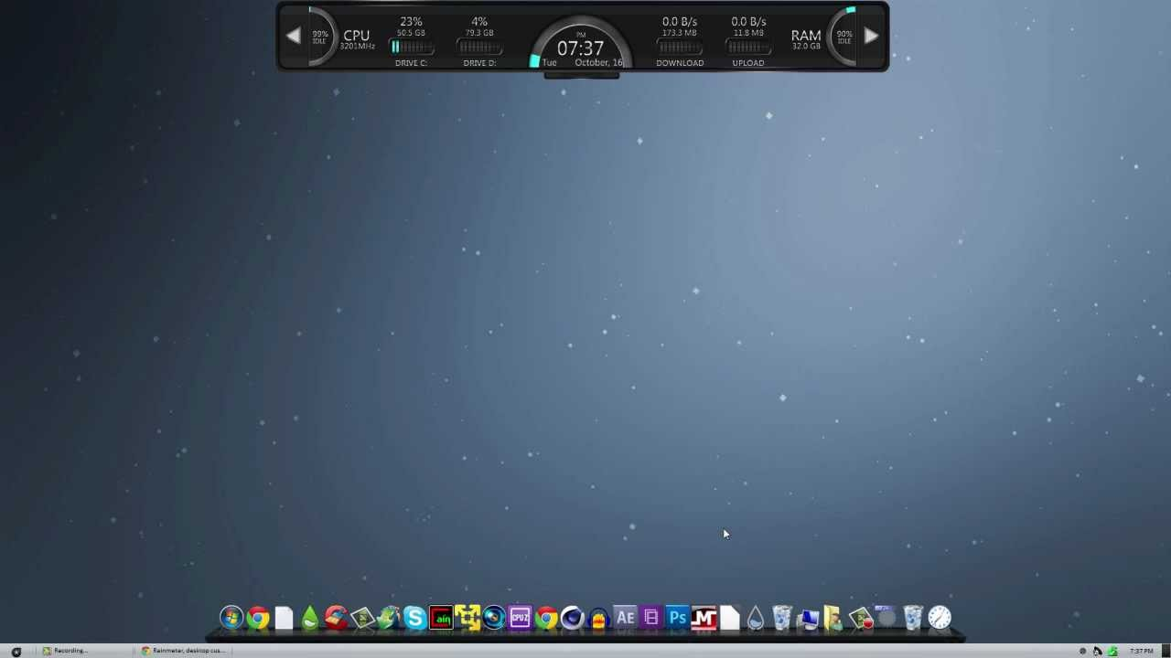 I3 bar rainmeter skin for windows 7 youtube for Bureau windows 7 rainmeter