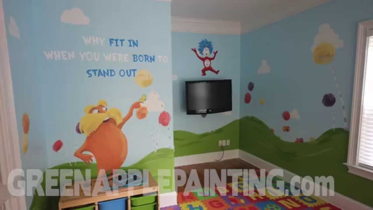 Dr seuss mural kids bedroom ideas kids playroom youtube for Mural art designs for bedroom