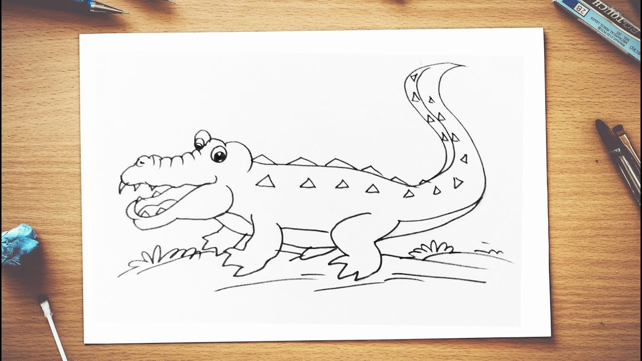 How To Draw An Alligator With Its Mouth Open Step By Step Kids