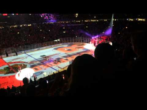 The 2014-15 Chicago Blackhawks first game intro!!!!!