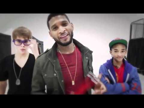 Justin Bieber with Usher & Jaden - Backstage at Grammy 2011