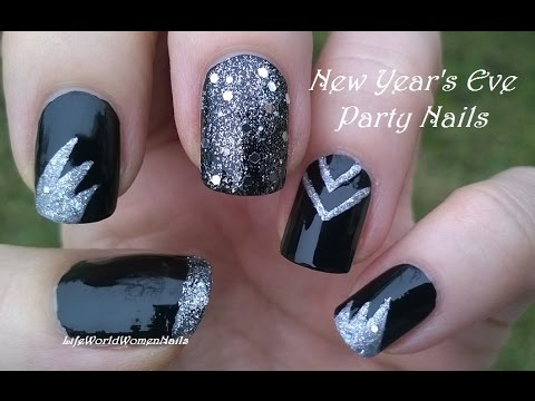 PARTY NAILS For NEW YEARS EVE Black Silver Nail Art Design
