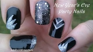 PARTY NAILS For NEW YEAR 39 S EVE Black Silver Nail Art Design
