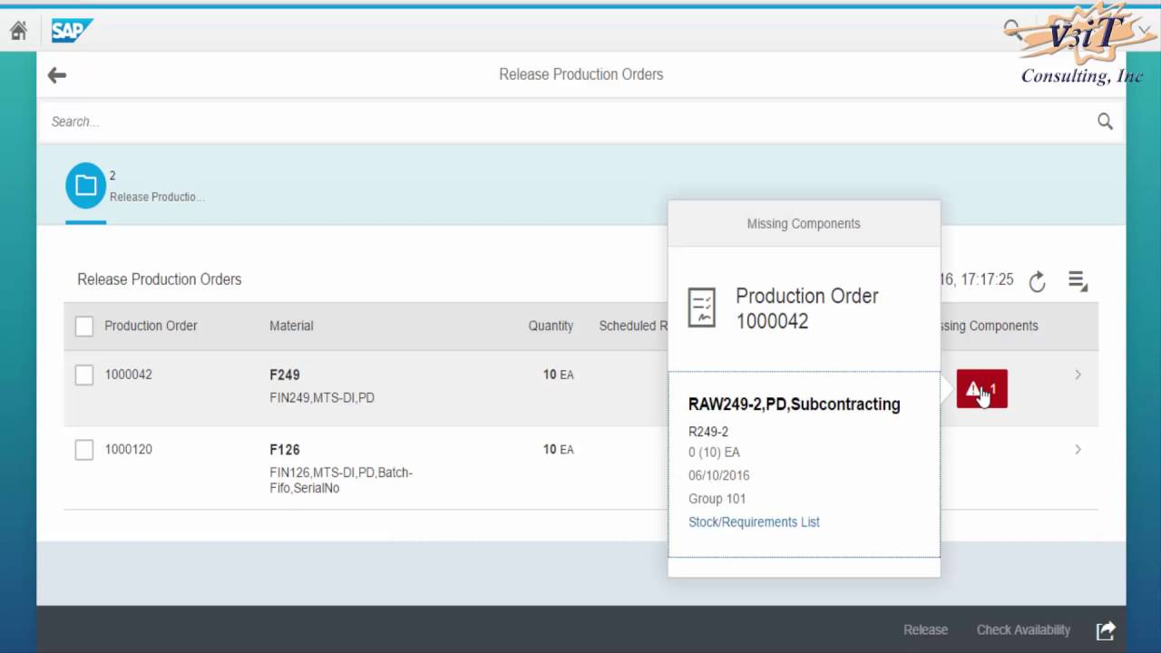 1 12 Fiori App Release production orders