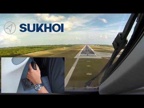 Sukhoi SuperJet 100 Sidestick Operation, Dual camera view.