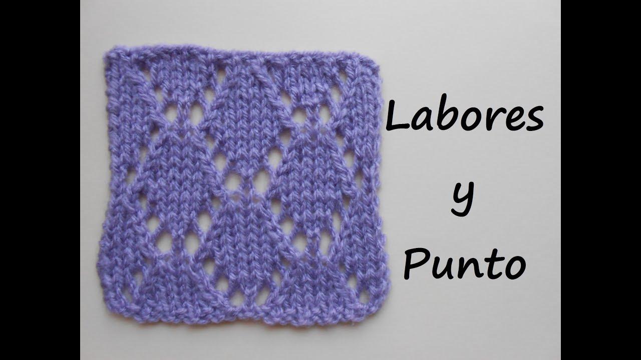 Aprende a tejer el punto rombo 2 en dos agujas youtube - Puntos de agujas de lana ...