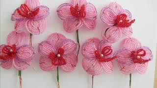 Бисероплетение. Урок № 5.  Технология сборки цветка розовой орхидеи из бисера.