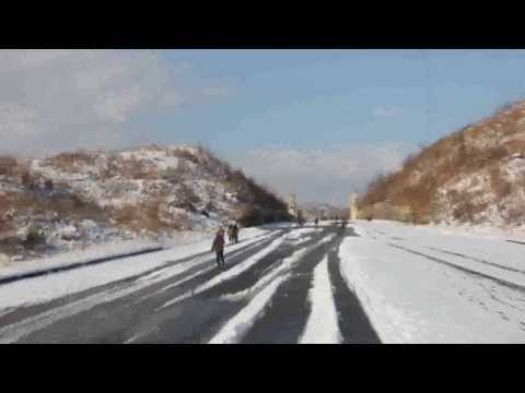 Driving out of Kaesong, North Korea