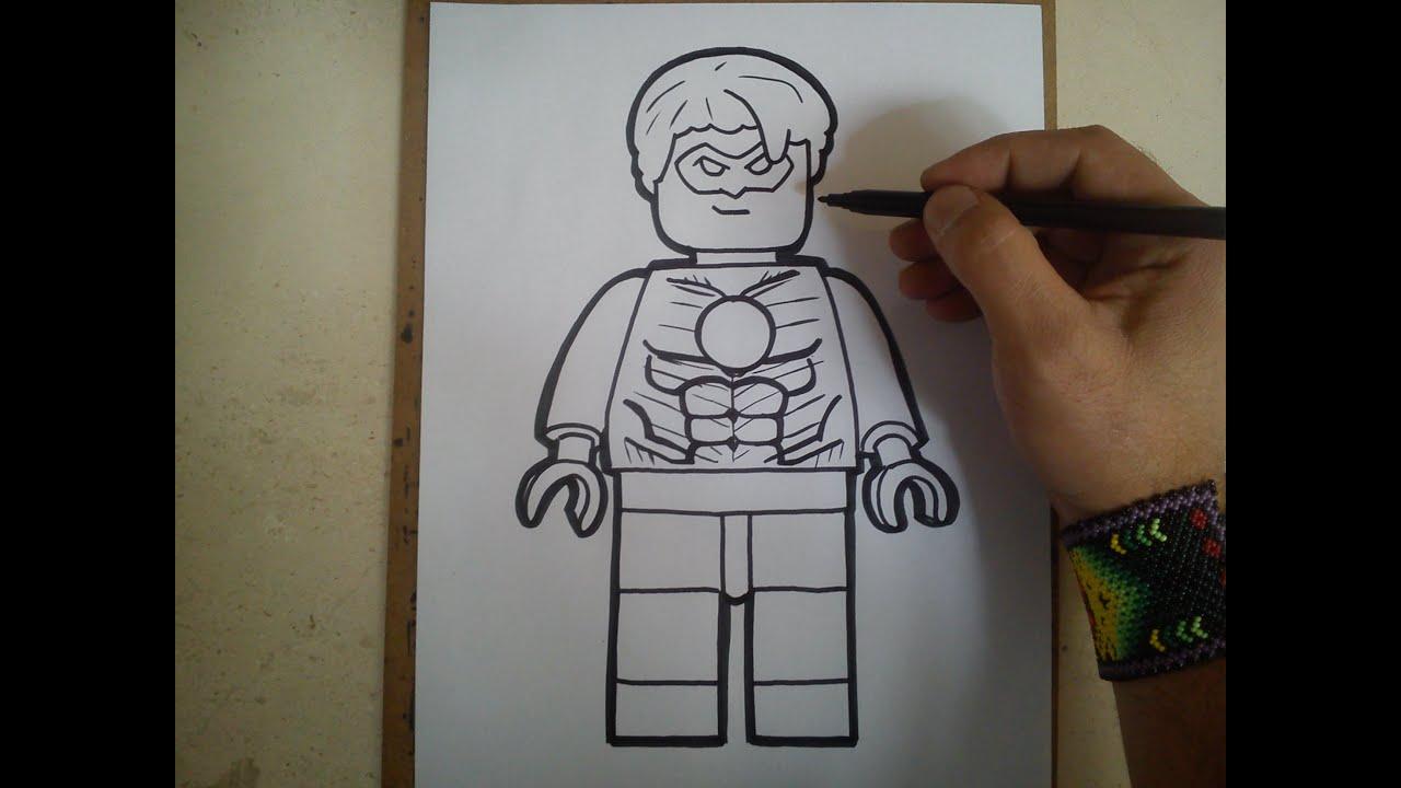Como Dibujar A Linterna Verde Lego Youtube
