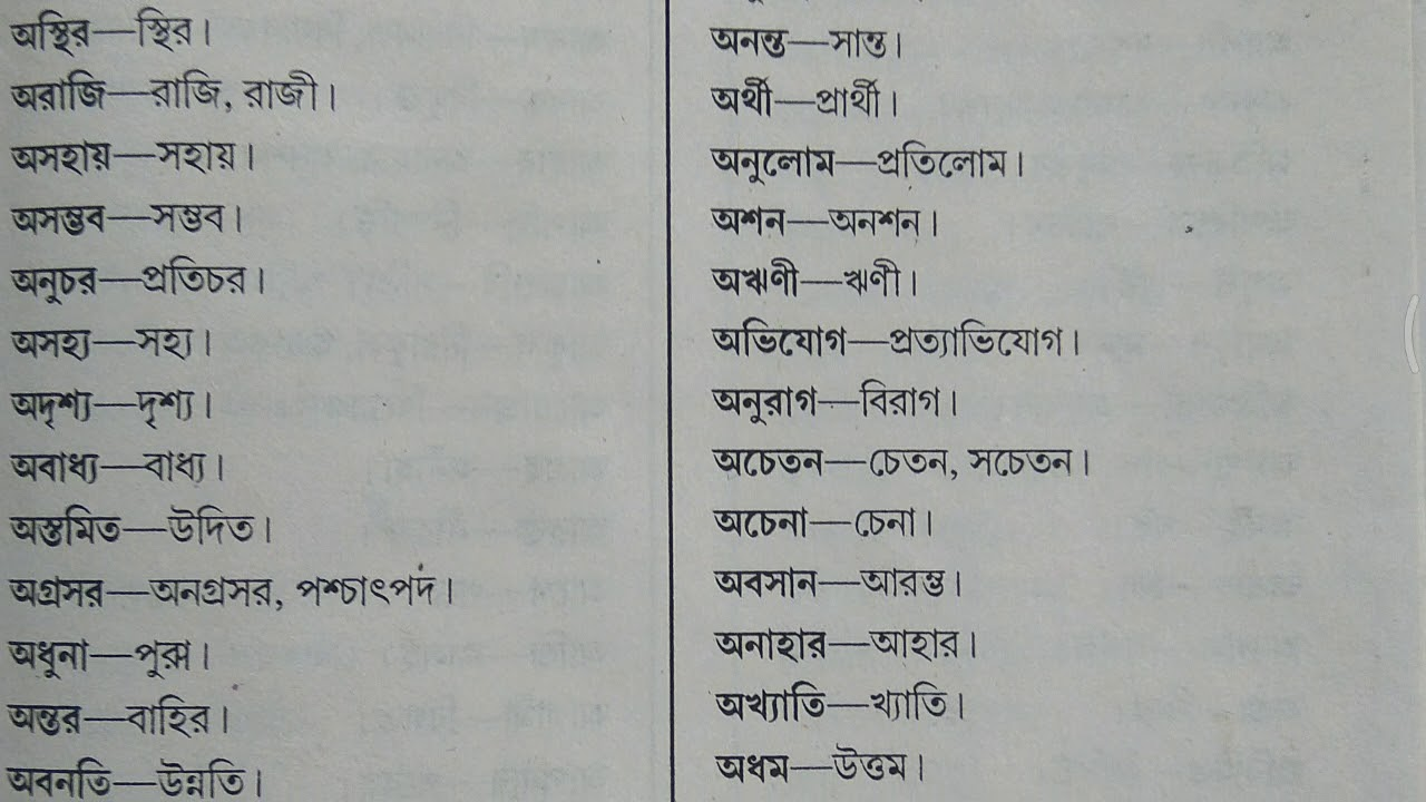 WBSETCL Bengali (Opposite Meaning)