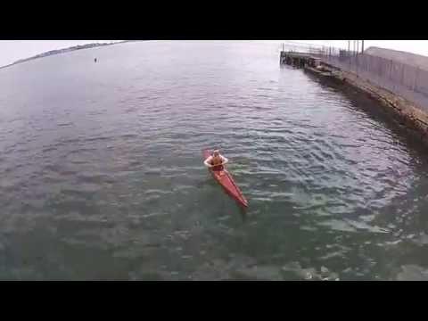 Matt doing greenland rolling under the drone - kayaking Lynn Harbor, Lynn MA