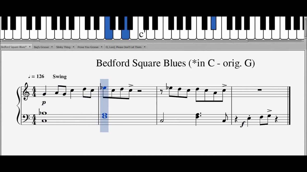Easy Jazz & Blues Piano Progressions In C - Sheet Music & Notes