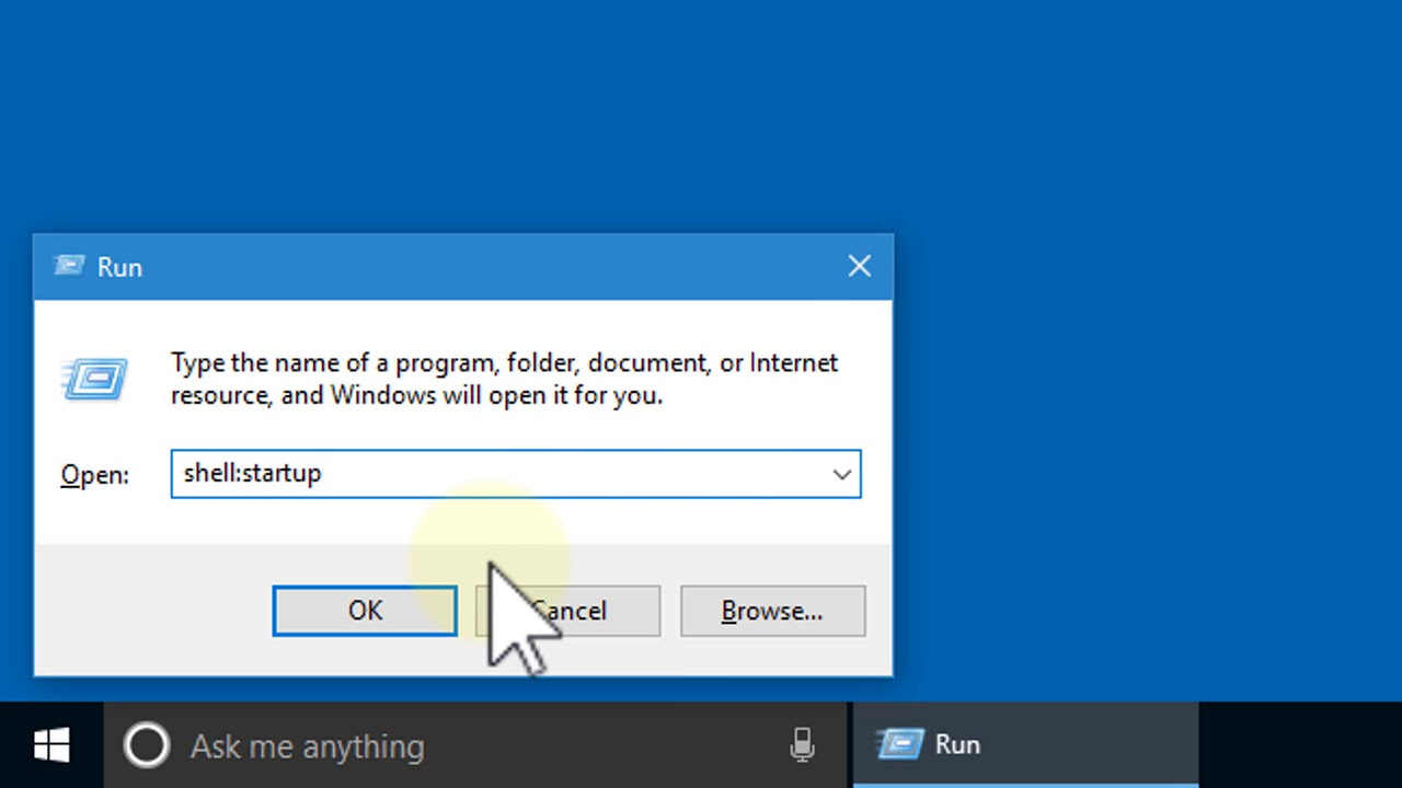 how to make program run on startup windows 10