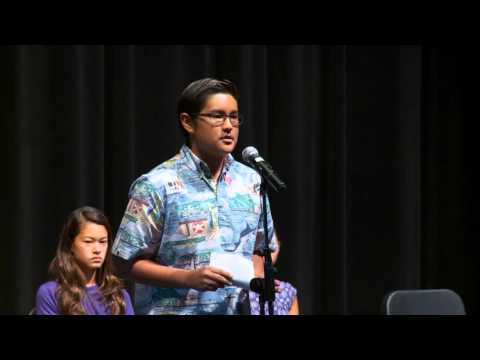 2016 Punahou School Damon Speech Contest Winners (March 8 & 9, 2016)
