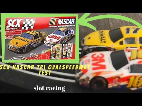 SLOT RACING | SCX Compact – Nascar Tri Ovalspeedway – 1:43 TEST circuit électrique