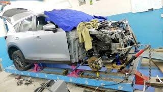 Mazda CX-5 Второе поколение. Подготовка авто к ремонту. Неудачная вытяжка лонжерона(