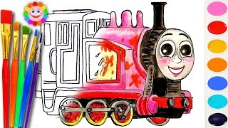 Learning Coloring With Thomas And Fiends How To Draw Rosie The Tank Engine Coloring Page Youtube