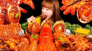 ASMR MUKBANG (COOKING) SPICY SEAFOOD (LOBSTER TAIL, ABALONE, OCTOPUS, SHRIMP, SQUID, ENOKI MUSHROOM)