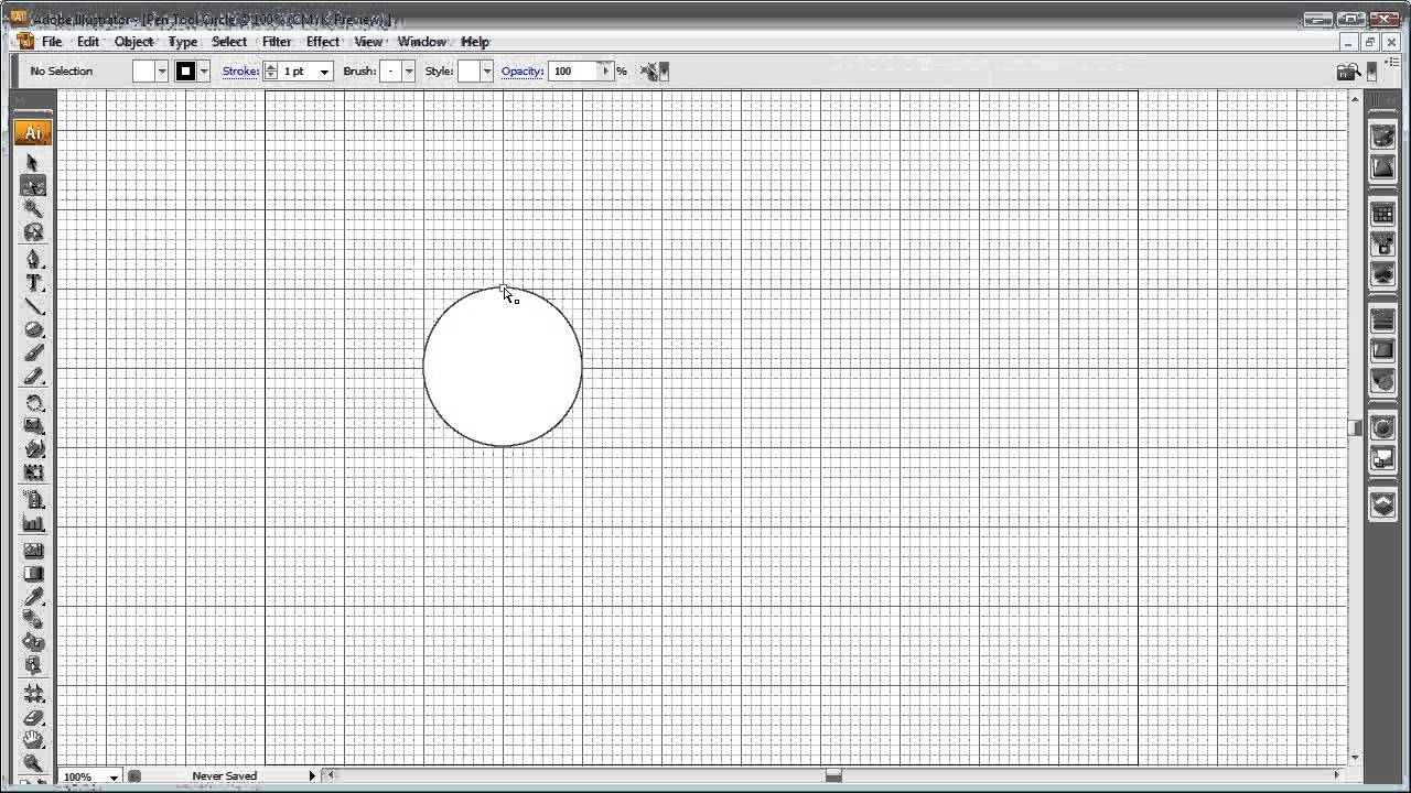 How To Draw A Circle With The Pen Tool In Illustrator Youtube