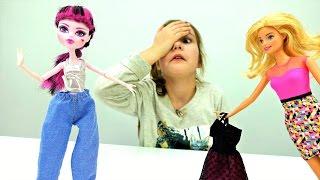 Куклы Барби и Монстер Хай в магазине. Платье для Дракулауры