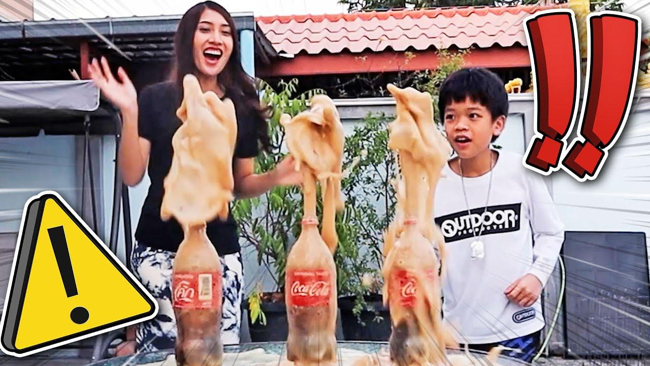 โค้กพุ่งปรี๊ด..!! เล่นโค้ก VS เมนทอส ของใครพุ่งสูงที่สุด Coke VS Mentos -  [DING DONG DAD]