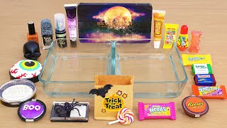 Trick or Treat - Haunted Halloween Lip gloss vs Eyeshadow Coloring Slime with Makeup ASMR