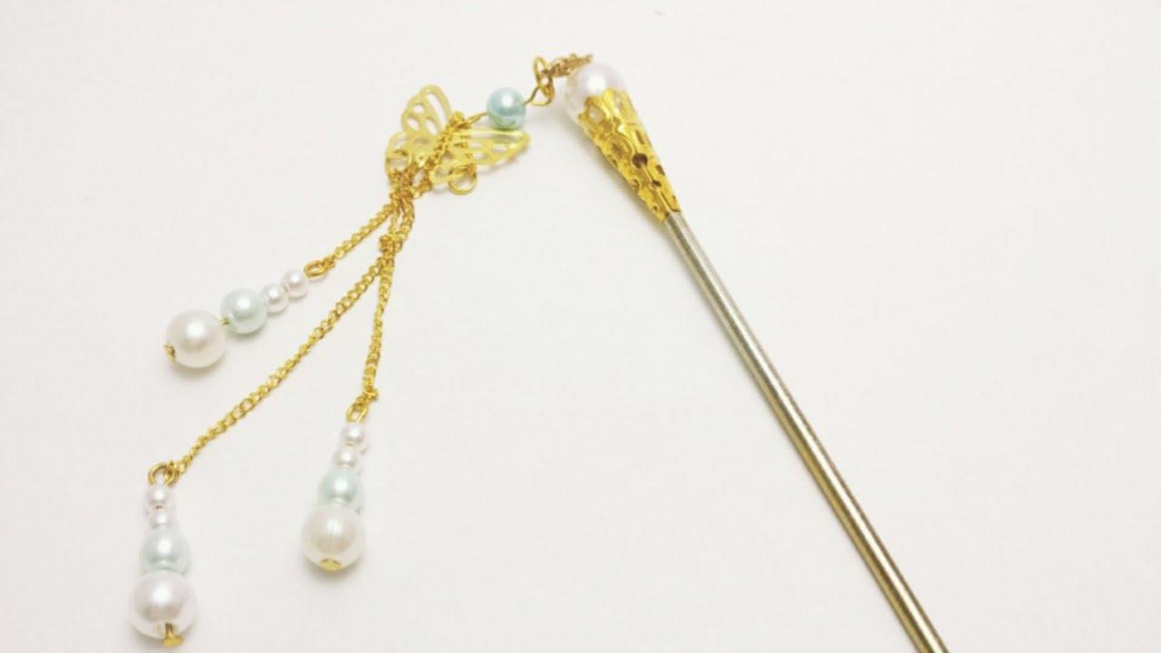 DIY Tutorial - Chinese Hair Accessories Golden Pearl Hair ...