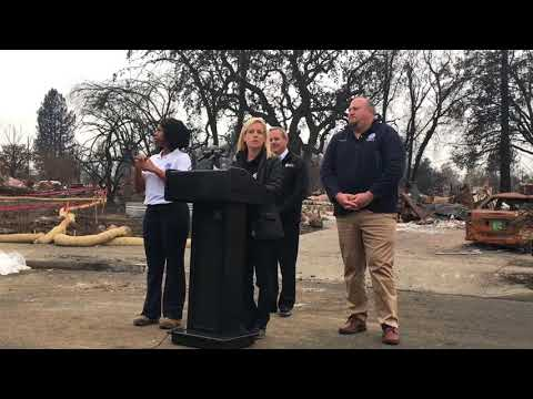 Press Conference With FEMA And Secretary Of Homeland Security In Coffey Park 01.03.18