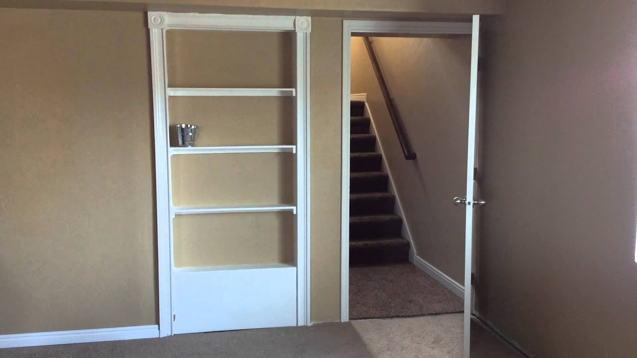 Hidden Bookcase Door With Bucket For Latch