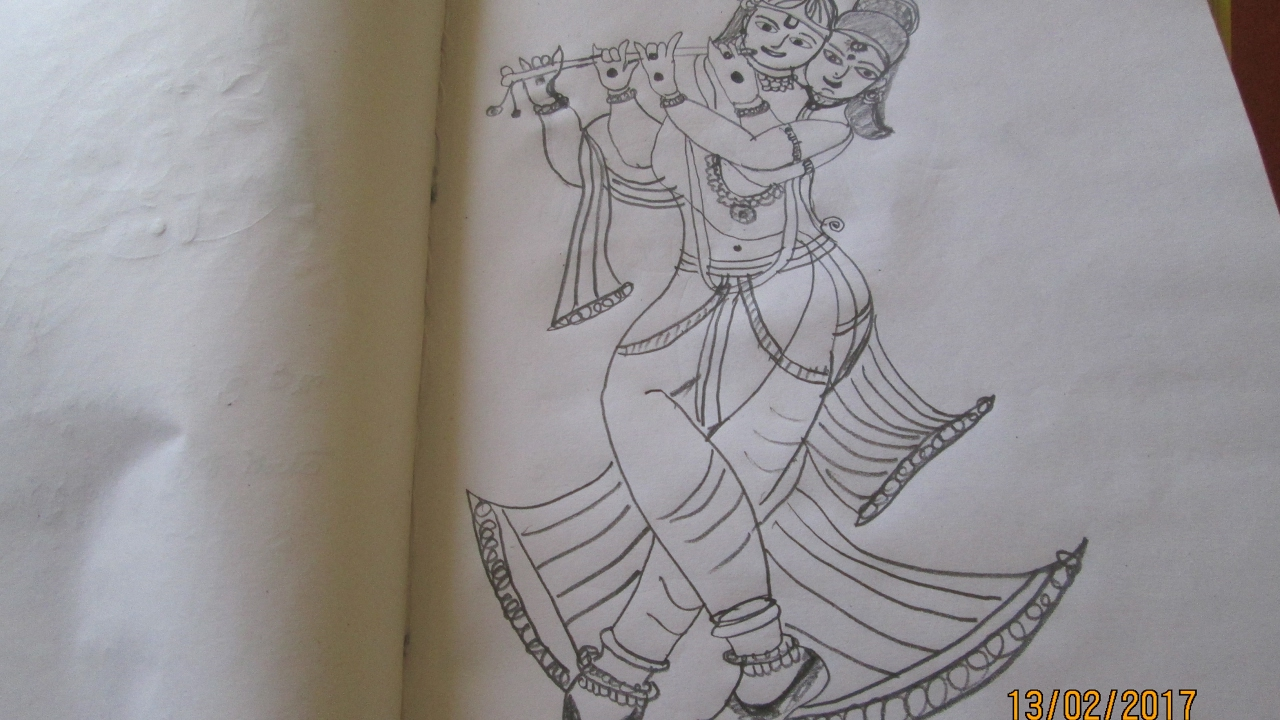 Lord sri krishna drawing art