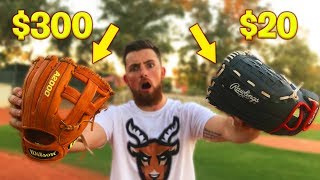 $300 Baseball Glove vs. $20 Baseball Glove! IRL Baseball Challenge