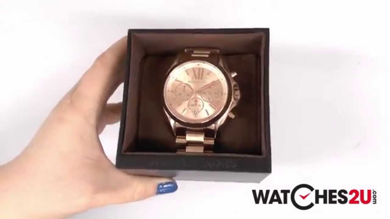 mk5503 michael kors ladies bradshaw rose gold chronograph watch youtube. Black Bedroom Furniture Sets. Home Design Ideas