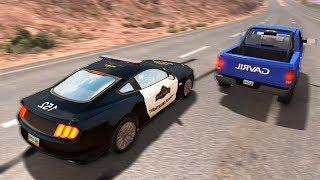 MUSTANG POLICE CAR CHASES DODGE RAM! AWESOME TAKEDOWNS! - BeamNG Drive Police Pursuits