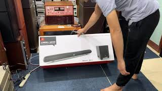 Loa soundbar JBL SB250 xem phim. Kết nối loa sub không dây.