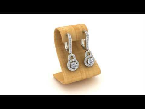 Dangle Drop Shape Halo Diamond Earrings 14K Gold
