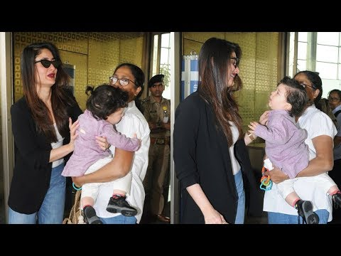 Taimur Ali Khan Is Crying To Go To Kareena Kapoor Khan's Arm In The Middle Of Airport