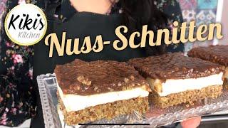 Saftige NUSS-SCHNITTEN | Blechkuchen mit Nüssen, Pudding, Schmand und Schokolade GLUTENFREI
