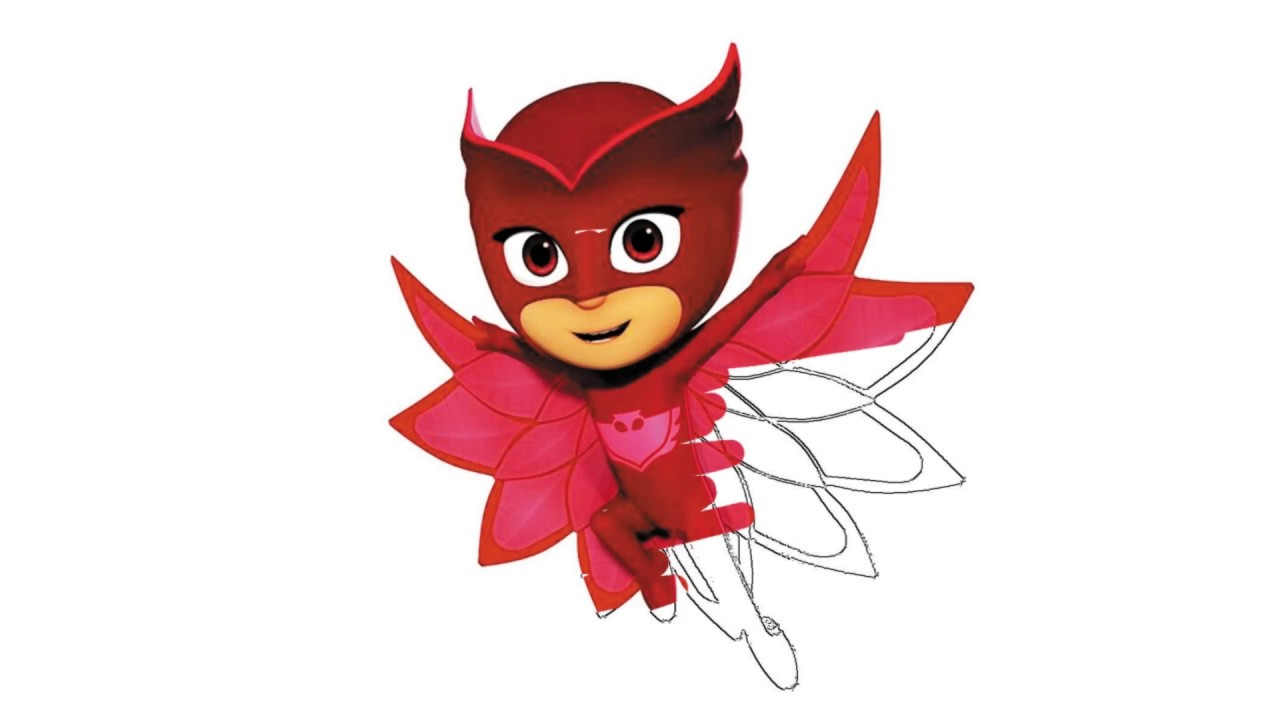 How To Draw And Color Learning Pj Masks Owlette Fly - Coloring pages For Kids Finger Family Songs