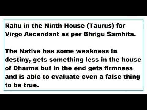 rahu in 9th House for virgo Ascendant as per Bhrigu Samhita