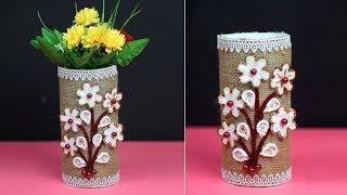 Easy Jute Rope Flower Vase - Making Jute Vase At Home - Simple Jute Craft