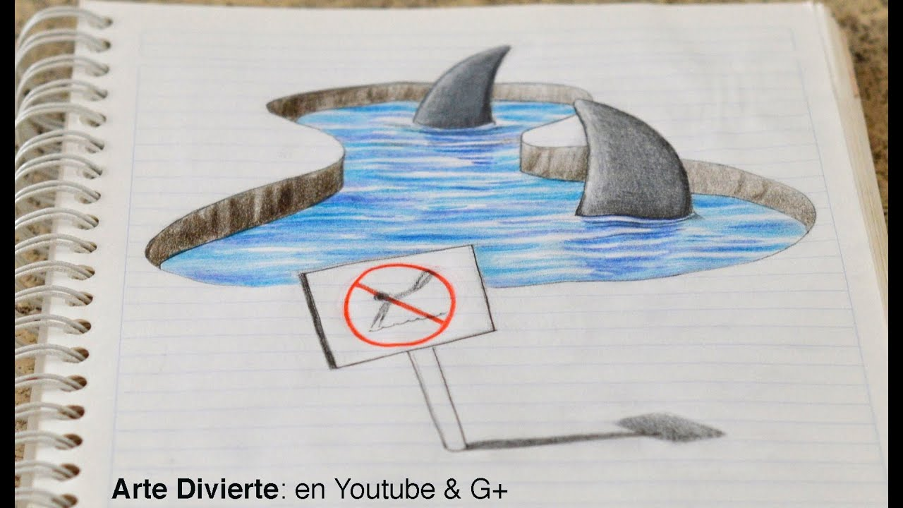 Dibujo anam rfico dibujando tiburones 3d en mi cuaderno for Crear mi casa en 3d