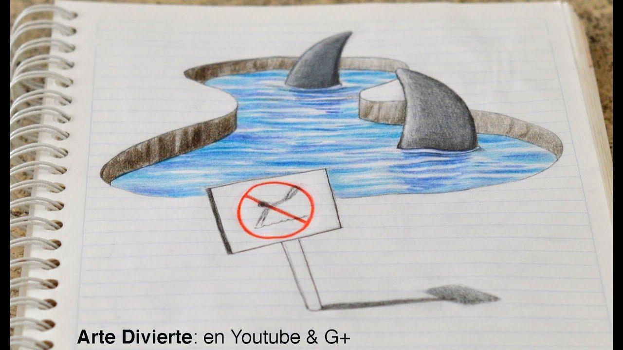 Dibujo Anamórfico Dibujando Tiburones 3d En Mi Cuaderno Arte