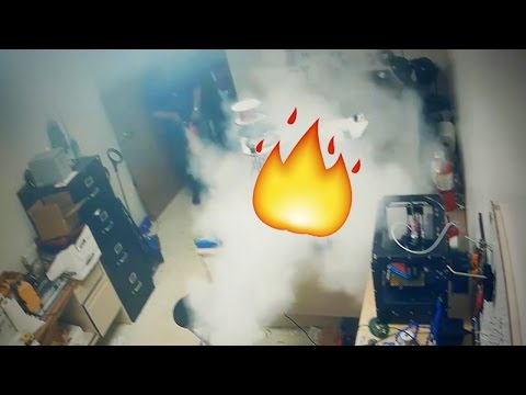 DRONE BATTERY EXPLODES INTO FLAMES
