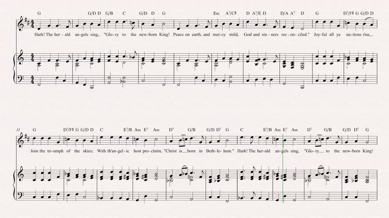 Trumpet Hark The Herald Angels Sing Christmas Carol Sheet Music Chords Vocals